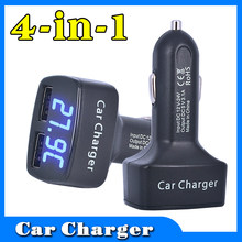 Car USB Charger Quick Charge Mobile Phone Charger 2 Port USB Fast Car Charger 12V 3.1A LED display car charger(China)