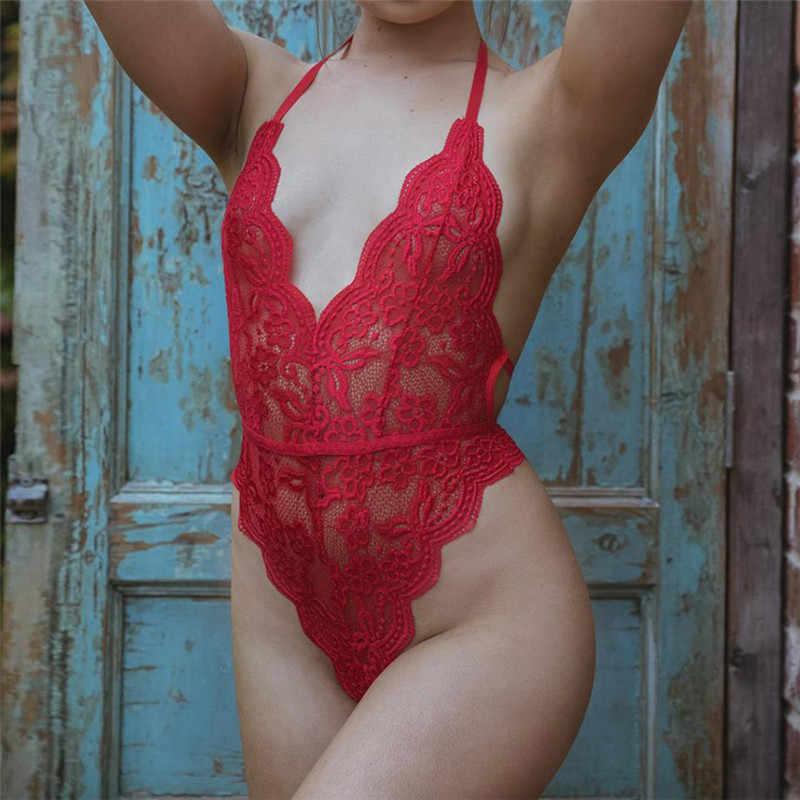 Sin espalda halter encaje bodysuit transparente Mujer cuerpo caliente sexy camisetas 2019 monos mujeres deep V sheer Coverall Party bodysuit