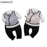 Sonbahar Çocuk Erkek Kız Giyim Takım Elbise Çocuklar Yelek Gömlek PantsThree parça Setleri Bebek Moda Konfeksiyon Toddler Beyefendi Giysileri