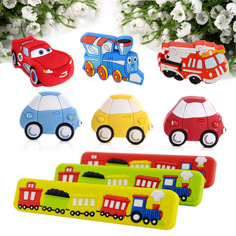 Lovely Soft Rubber Cartoon Kids Room Decors Drawer Handles Cabinet Pulls/Knobs Traffic Car Wardrobe Cupboard Door Knobs Pull fancytrader new style giant plush stuffed kids toys lovely rubber duck 39 100cm yellow rubber duck free shipping ft90122