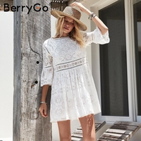 BerryGo Hollow Out Lace Dress Women Flare Sleeve Casual White Dress Spring Streetwear Vestidos Short Summer