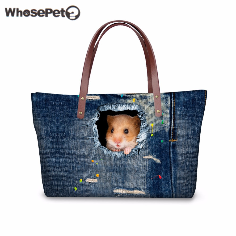 WHOSEPET Hamster Women Handbags Top handle Bag 3D Denim Printing for Fashion Ladies Shoulder Bag Large