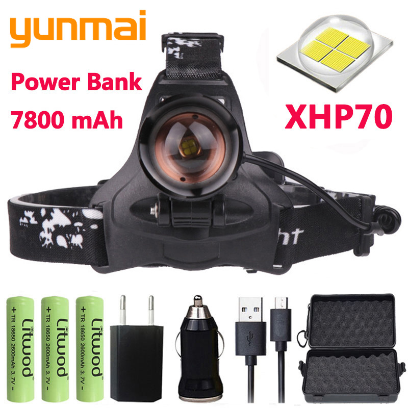 Z20 yunmai 2608 32W chip XHP70 Headlight 32000lum powerful Led headlamp zoom head lamp flashlight torch Lantern Head light