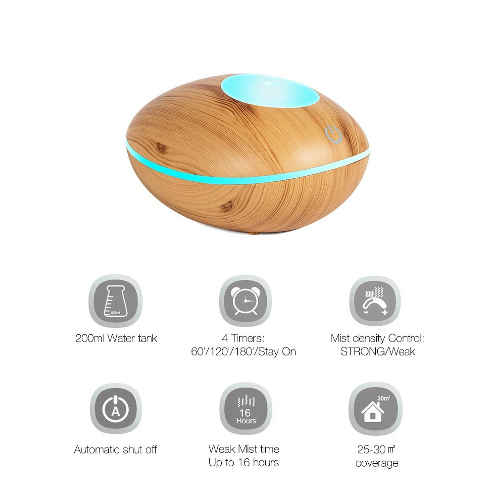 TSUNDERE L Aroma Essential Oil Diffuser 200ML Air Humidifier Wooden Remote Control Touch Dual for Home, Yoga, Baby Room 2017