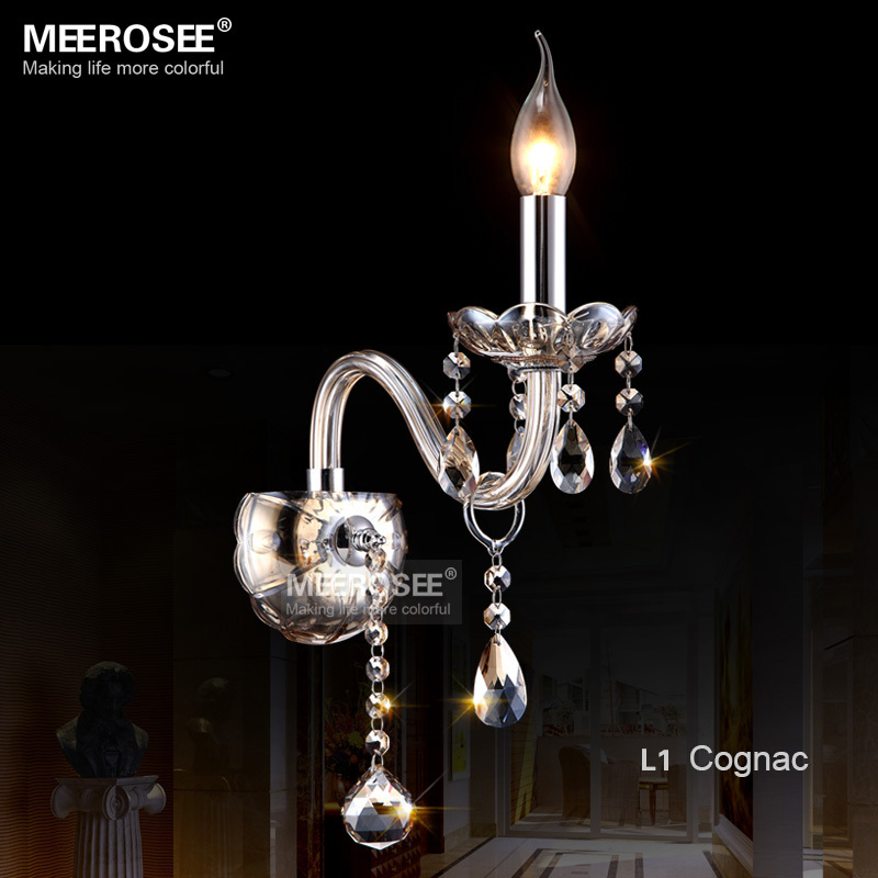 Vintage Crystal Wall lighting fixture Modern Glass Wall lamp Cognac crystal Wall sconces for Bedroom Living room 100% Guaranteed led k9 crystal wall lamp modern sconces bed room light living room lighting fixture free shipping