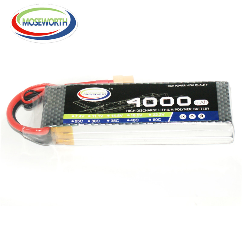 MOSEWORTH RC Lipo battery 3S 4000mah 11.1V 35C-70C for Helicopter Car Quadcopter High rate cell RC Drone batteria T/XT60 2pcs high quality 4s full 5400mah 14 8v 79 92wh replacement lipo battery for yuneec typhoon h drone rc quadcopter