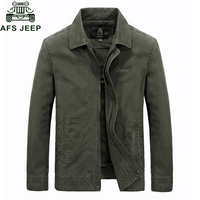 Afs Jeep 2017 Spring Autumn New Jacket Men Casual Turn Down Collar Coat Male Army Green
