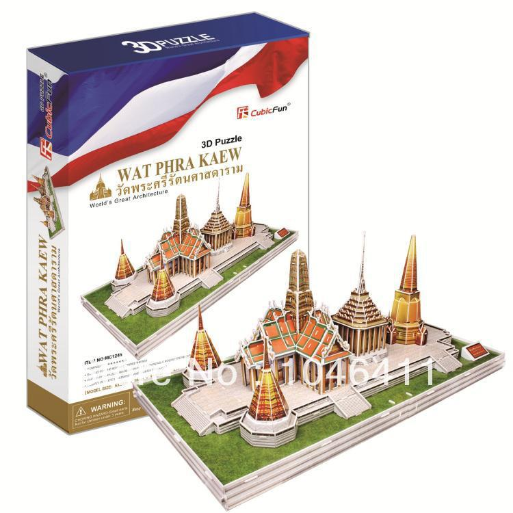 Wat Phra Kaew CubicFun 3D educational puzzle Paper & EPS Model Papercraft Home Adornment for christmas birthday gift cubicfun 3d puzzle diy paper model building p615 dollhouse garden villa puzzle 3d handmade lovely toys for kids christmas gifts