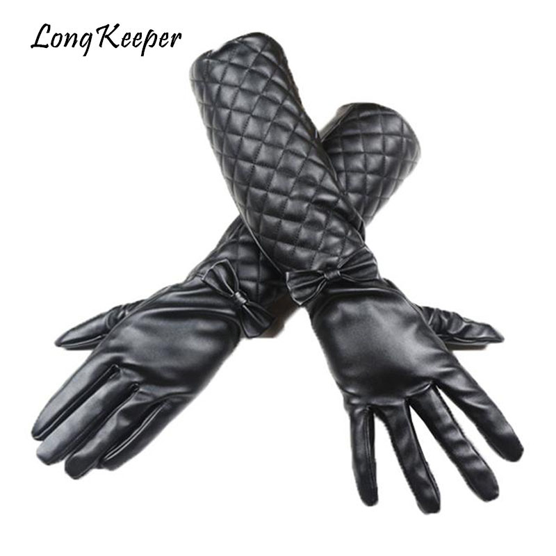Long Keeper Women Long Sleeves High Quality Leather Gloves Luxury Bowknot Sexy Ladies Full Finger Gloves Winter Black Warm Luvas