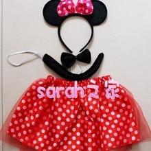 Стильный костюм с милой мышкой на Хэллоуин, красная юбка в горошек для девочек+ обруч на голову+ галстук-бабочка+ хвост, одежда для костюмированной вечеринки