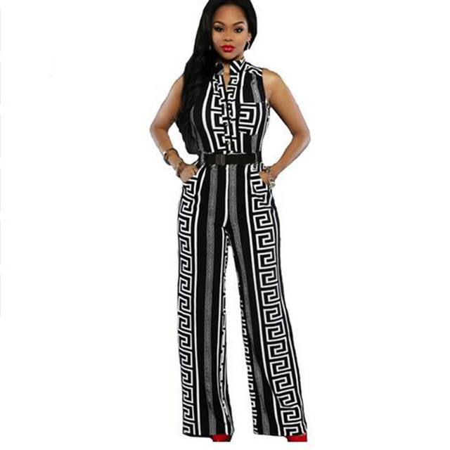 de7a92dccc2a4 Women Striped Print Jumpsuit Black White Sleeveless V Neck Wide Leg Rompers  Belted Plus Size Full Length Long Playsuit-in Jumpsuits from Women's ...