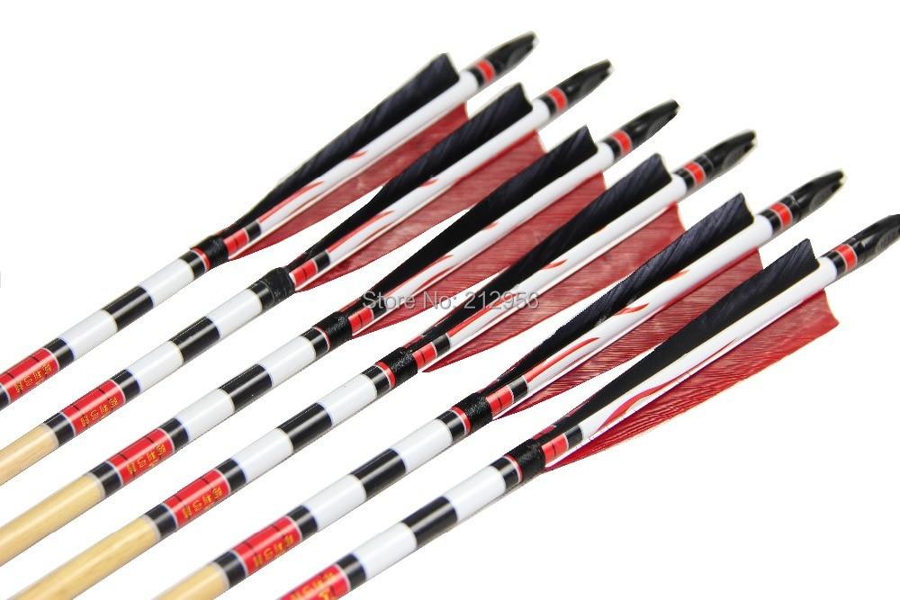 Longbowmaker Red And Black Printing Turkey Feathers Cedar Wood Targeting Arrows NWYT3 12 Pack