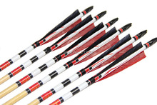 Longbowmaker Red And Black Printing Turkey Feathers Cedar Wood Targeting Arrows NWYT3 (12 Pack)