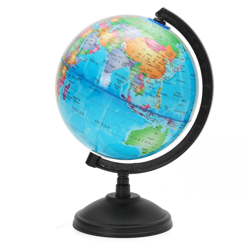 14.16CM LED Light World Earth Globe Map Geography Educational Toy With Stand Home Office Ideal Miniatures Gift Office Gadgets 12 5 world earth globe map geography led illuminated for home office desktop decoration education toy kids gift