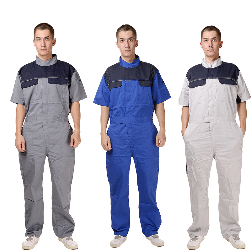 Mens Workwear Short Sleeve Cotton Blend Coverall with Multi Pockets and zipper front blue grey khaki colorMens Workwear Short Sleeve Cotton Blend Coverall with Multi Pockets and zipper front blue grey khaki color