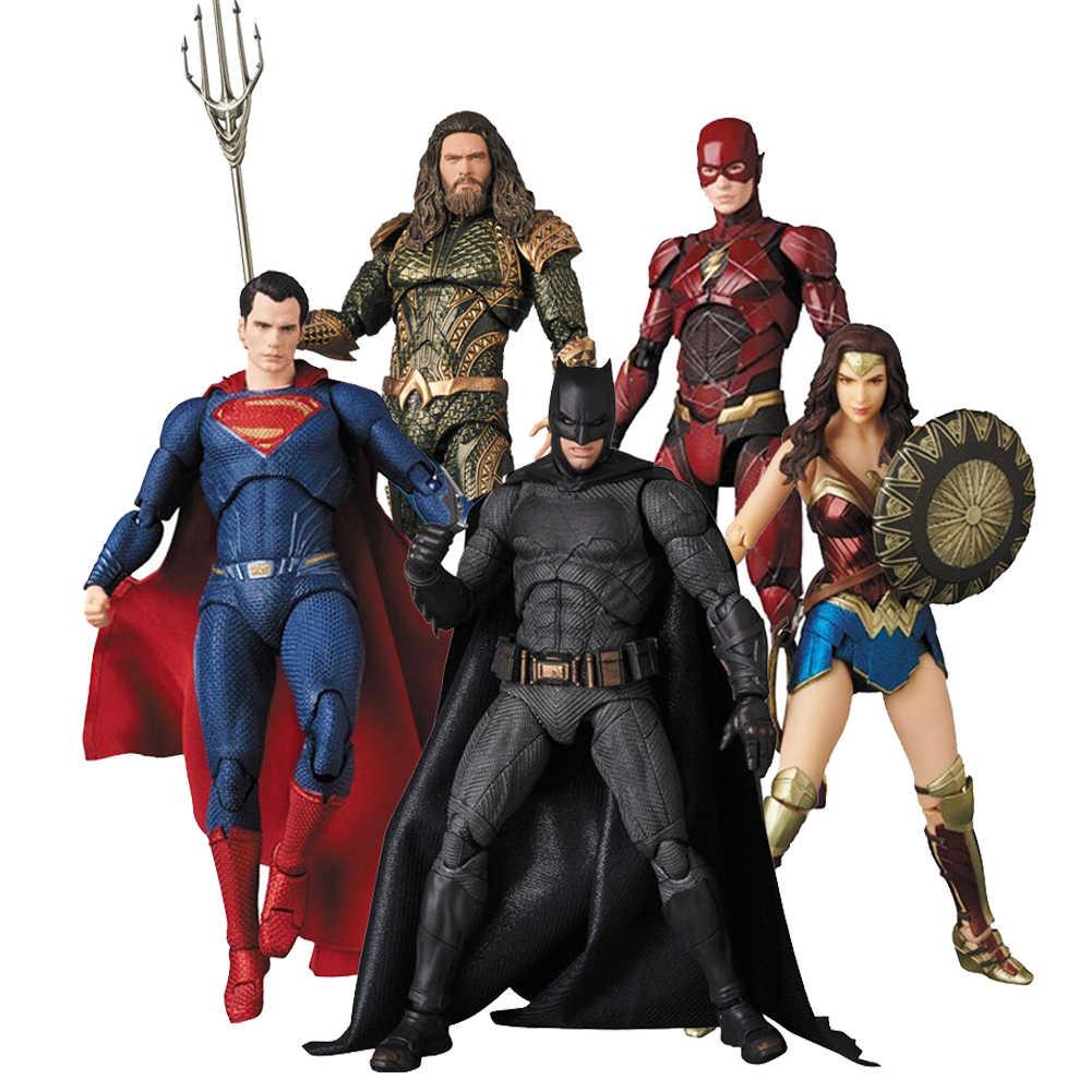 Liga da justiça mafex aquaman 061 batman 056 flash mulher maravilha superman spiderman figura de ação brinquedo boneca
