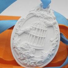 Oval gypsum tablet bird cage Mould Handmade Gypsum Clay pendant Silicone Mold
