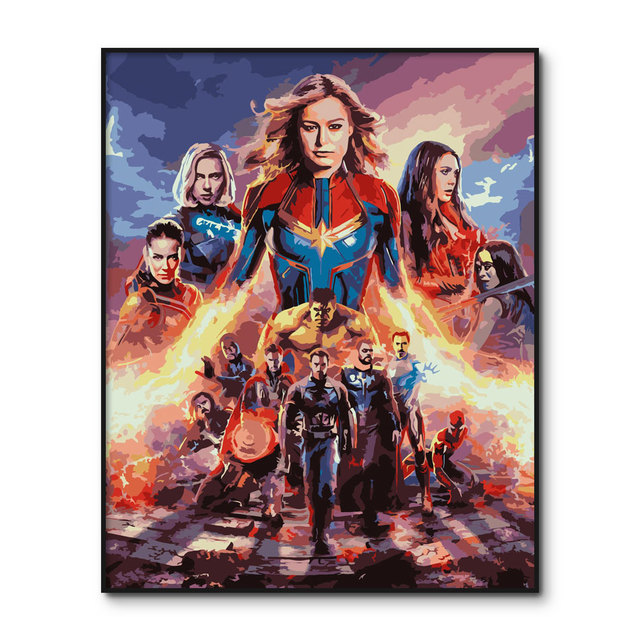 Poster Avengers Endgame Oil Painting by Numbers Decorative Painting with Frame Thanos Coloring By Numbers On Canvas Home Decor