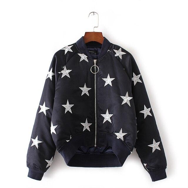 2016 Parkas inverno mulheres estrela de cinco pontas-Bordado irregular jaqueta bomber grosso zipper quente curto outwear estilo Japonês