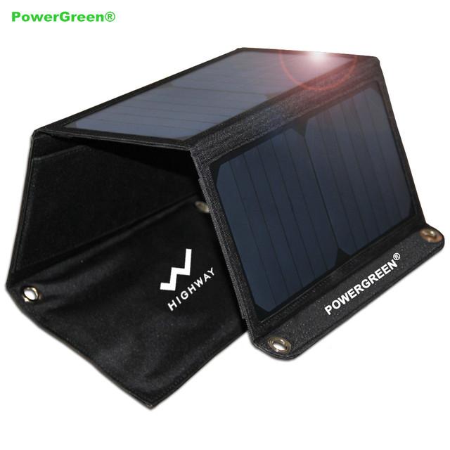 Powergreen dobrável carregador solar 21 w com dual usb painel solar dobrável saco para iphone6s 6 plus, android, samsung, htc, lg, nexus
