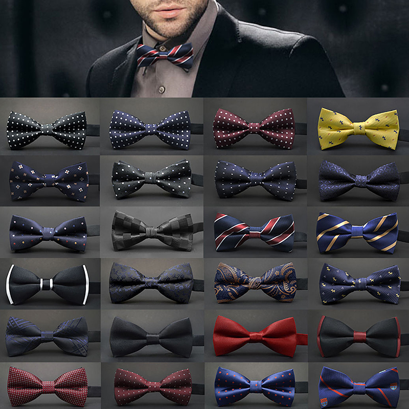 Tuxedo Cravat Bowtie Classic Wedding-Party Butterfly Black White Green Solid-Color Fashion
