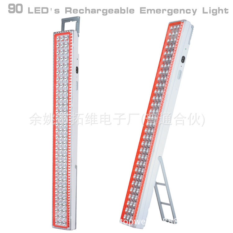 90 Lights LED Emergency Camping Lights Rechargeable Emergency Lights Camping LED Work Lights filled with water on the glowing green camping emergency lights