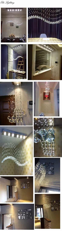 Ruang kamar modern minimalis restoran Liontin lampu, gelombang berbentuk lampu kristal, bar ruang makan dipimpin lampu
