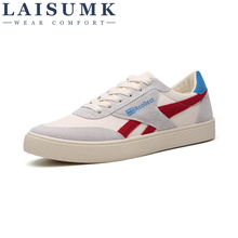 LAISUMK 2019 New Mens Casual Shoes Canvas For Men Lace-up Breathable Fashion Summer Autumn Flats Male
