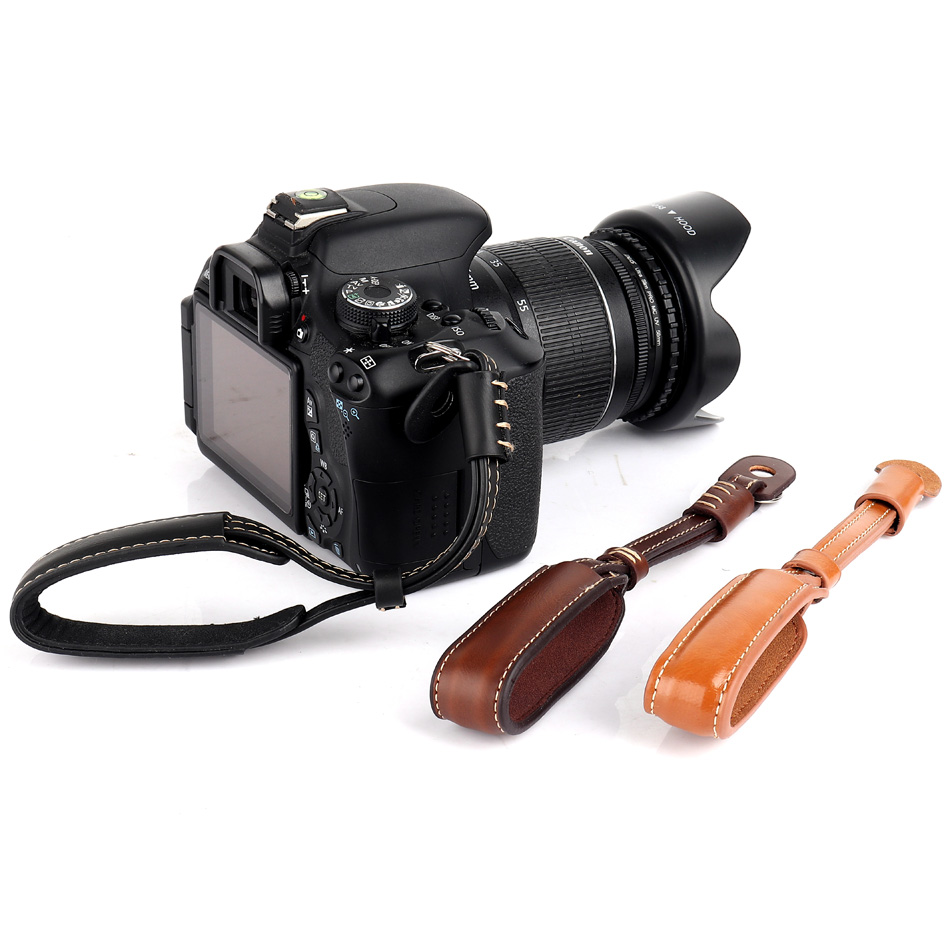Camera Strap PU Leather Camera Wrist Hand Strap <font><b>Grip</b></font> For Canon 500D 450D 200D 100D 90D 80D <font><b>77D</b></font> 70D 60D 7D 6D 5DR 5DS DSLR Strap image