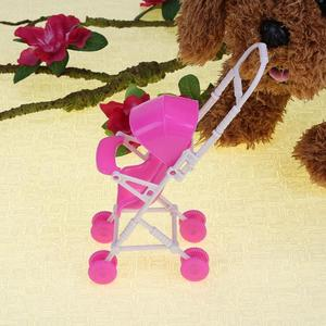 Image 4 - Baby Stroller Infant pink Carriage Stroller Trolley Nursery Toy For Doll Dollhouse Miniature Baby Gifts for Baby Girls
