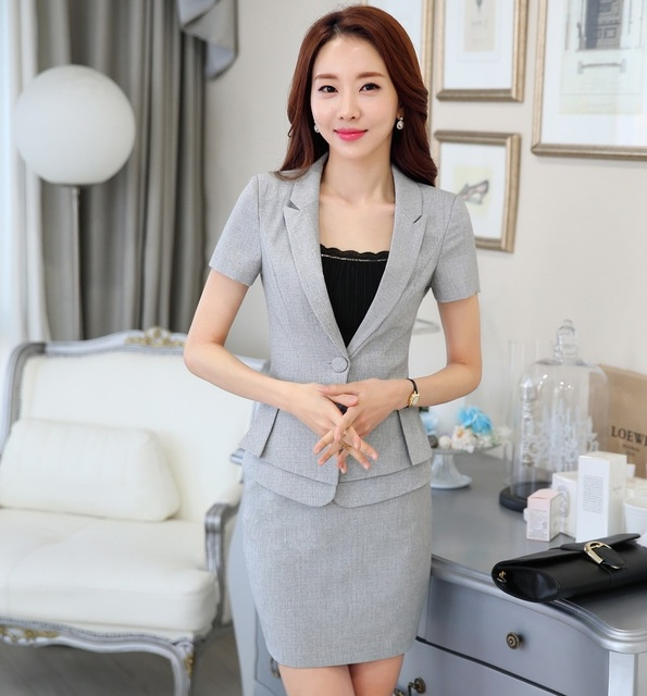 Novelty Grey Formal OL Styles Ladies Uniform Styles Slim Fashion Professional Business Women Suits Jackets And Skirt Blazers Set