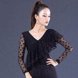 Image 3 - สีดำ Ballroom V Neck ruffle เต้นรำละตินสำหรับผู้หญิง/หญิง/หญิง dancerwears, ผ้าพันคอยาวสวมใส่ YR0906