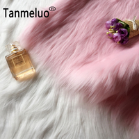 7cm long pile pink and white imitation fur fabric material for toy sofa pillow decoration DIY cosplay fake fur fabric