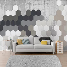 Customized 3d wallpaper Nordic simple personality geometric square wall high-grade waterproof material