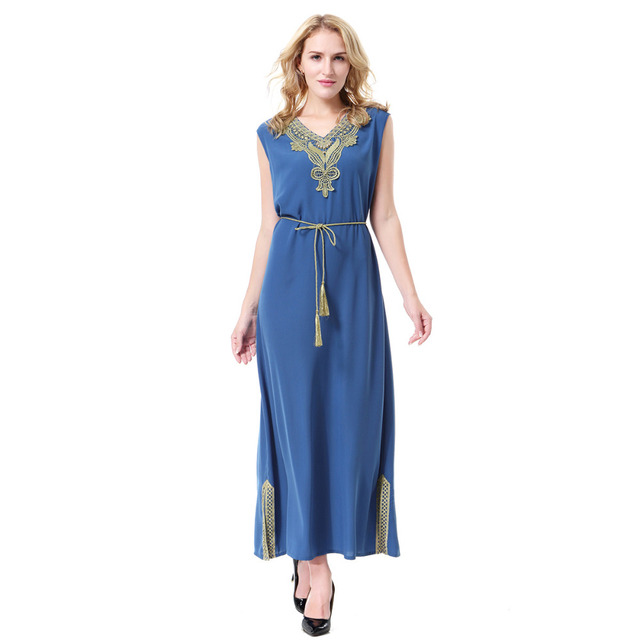 Women Linen Embroidery Hem Split Sleeveless Muslim Abaya Dress Arab Robes  Islamic Clothing Middle East Evening Dresses Malaysia f8ae3eb36f2e
