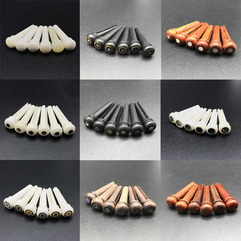 6Pcs Bone Guitar Bridge Pins Ebony Bone Rosewood Bridge Pin for Acoustic Guitar with Pearl Shell Brass Circle Guitar Accessories