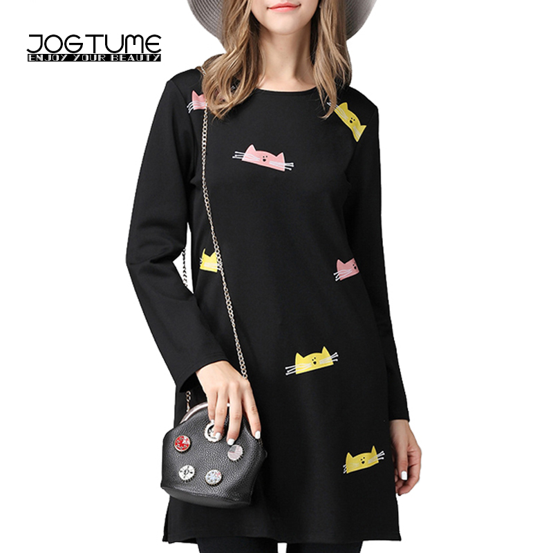 JOGTUME Cat Print Dress Long Sleeve Women Black Loose Casual Cotton Dresses Autumn Winter Ladies Mini Vestidos Plus Size(L 5XL)