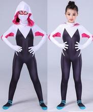 цена на spider gwen costume Stacy Spandex Lycra Zentai Spiderman Costume for Halloween Cosplay Female Spider Suit Anti-Venom Gwen woman