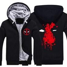 Mens Casual 2016 Movie Deadpool Hoodies Zip up Thick Winter Super Warm Cotton Sweatshirts Coats