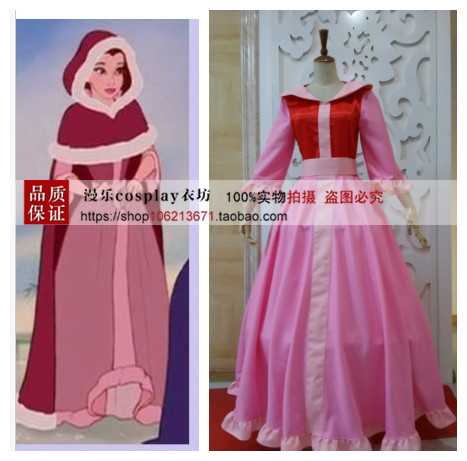 Beauty and the Beast dress Belle princess cosplay costume dress pink dress