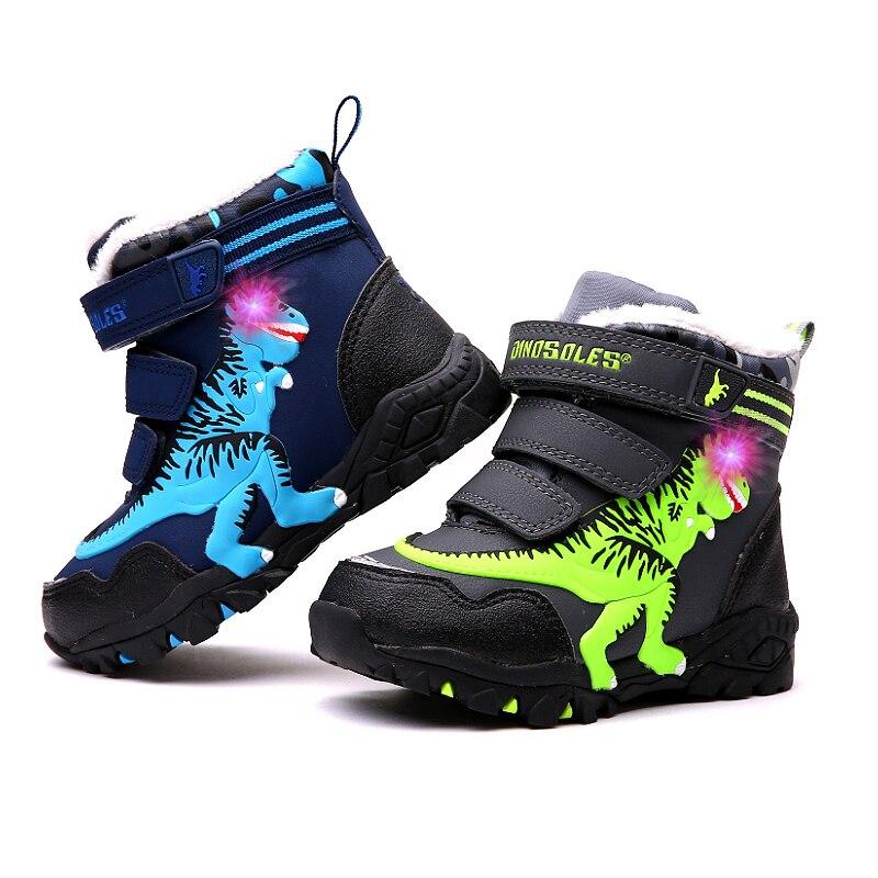 Dinoskulls Boys Boots Light Up Fleece Kids Snow Boots 3D Dinosaur LED Sport Children Shoes Waterproof 2019 Winter Big Boy Shoes