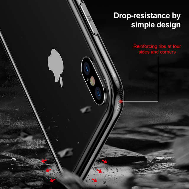 Baseus Frame Case For iPhone X Shockproof Bumper Cover Case For iPhone 10 Hard PC & Soft TPU Back Shell Protection Border Capa