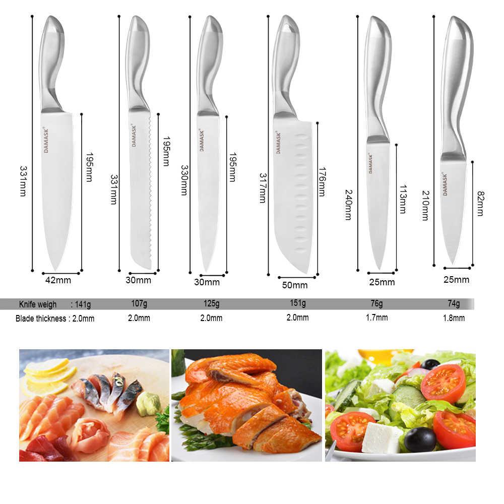 Şam Paslanmaz Çelik Bıçak Seti Japon Şef Paslanmaz Çelik Mutfak Bıçağı Bıçak Standı Tutucu Blok Kolu Et Cleaver