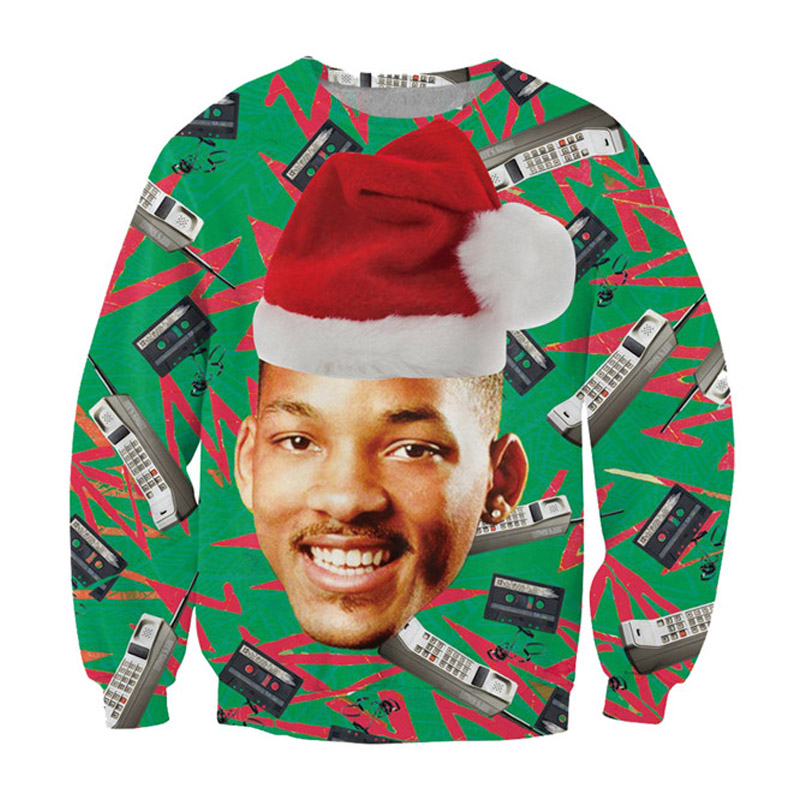 Causal Sweatshirt Fresh Prince Christmas Crewneck Jumper Carlton Prince/Will Smith With Christmas Hat Outerwear Women Men Tops