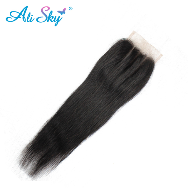 Ali Sky Hair Brazilian Straight Lace Closure Three Part 4×4 Swiss Lace Hand Tied 8-22 Inch 120% Density No Tangle can be dyed