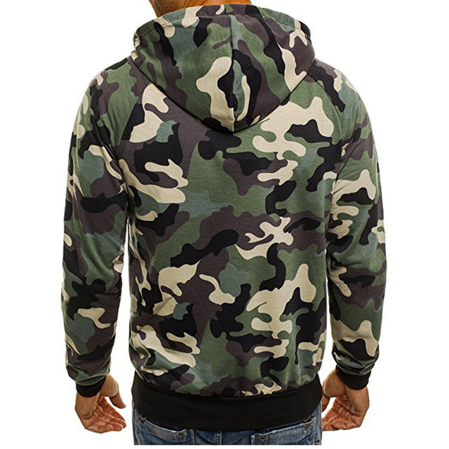 Sweatshirts Men's Casual Camouflage Zipper Sweatshirt Sports Pullover Tops Autumn Winter Mens Hoodies Sweatshirts sep21