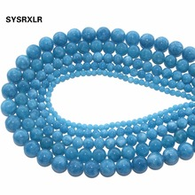 Wholesale Natural Stone Beads Round Blue Angelite Loose For Jewelry Making Diy Bracelet Necklace 4/6/8/10/12 MM Strand 15