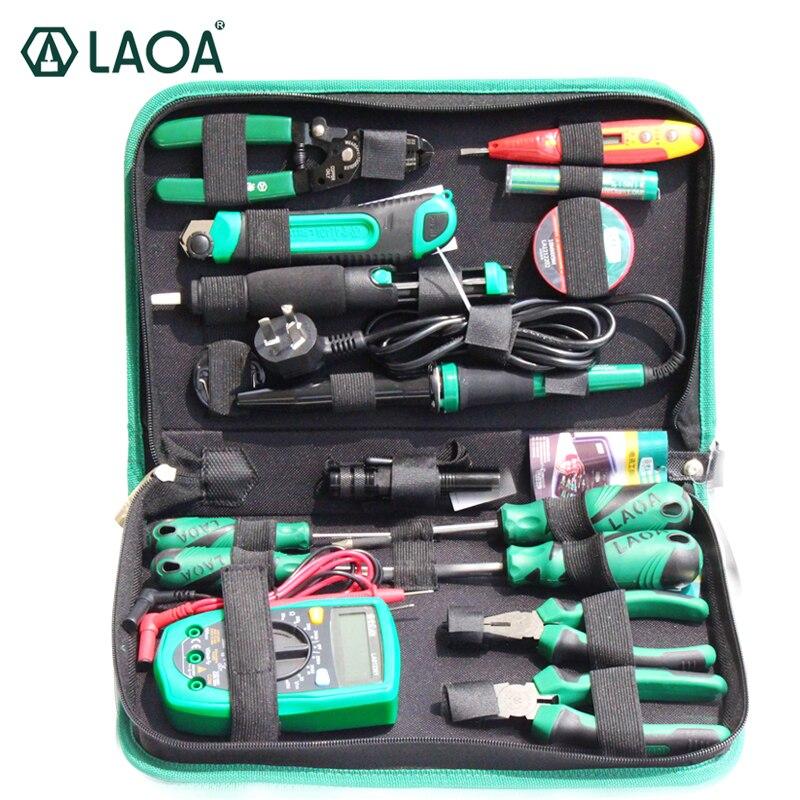 Laoa 16 pçs conjunto de ferramentas de manutenção eletrônica alicate ferro de solda pinças kit de ferramentas de reparo multímetro digital eletrônico