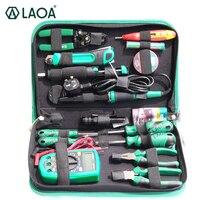 Laoa 16 pçs conjunto de ferramentas de manutenção eletrônica alicates ferro de solda pinça kit ferramenta de reparo multímetro digital eletrônico
