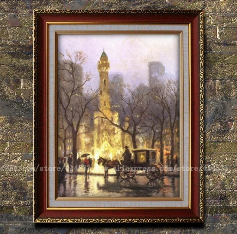 Prints thomas kinkade oil painting the water tower chicago canvas print landscape painting home for Home interiors thomas kinkade prints